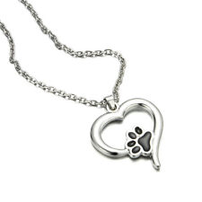 Pet Lover Puppy Dog Cat Paw Print Pendant Heart Necklace Valentine's Day Gift Silver