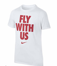 NEW WITH TAGS Boy's Nike Dri-Fit White T-Shirt 'FLY WITH US' - Size L Large