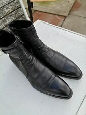 GIANNI BARBATO Mens 100% Leather, Black Chelsea Ankle Boots UK 10 (44)