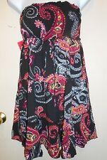 Trixxi Junior Tiered Strapless Tube Dress Black Paisley Print M NWT