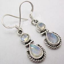 925 Sterling Silver BLUE FIRE RAINBOW MOONSTONE 2 STONE DESIGNER Dangle Earrings