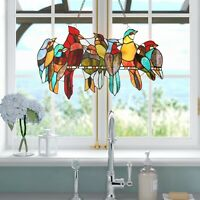 Birds Stained Glass Window Panel Tiffany Style Colorful Sun Catcher Bird Design