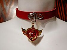RED SAILOR MOON COMPACT COLLAR choker punk necklace vinyl vegan cosplay 2B
