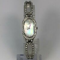 Anne Klein Womens Silver Stainless Steel Mother Of Pearl Crystal Accent Watch
