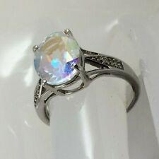 Gorgeous Mercury Mystic Topaz & Diamond Platinum Overlay Silver Ring - 3.17 cts