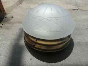 Lampadario plafoniera ottone vetro molato anni 30/40 antico deco'