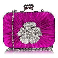 Ladies Women's Fashion Designer Quality Satin HardCase Clutch Evening Bag Brooch