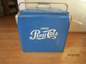 Vintage 1950'S Metal Pepsi Blue Cooler By Progress Refrigerator Co