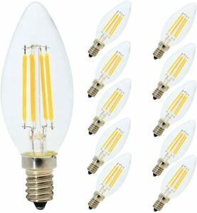 C35 4W E14 LED Dimmable Filament Screw Candle Bulbs Warm White 2700K (10 Pack)