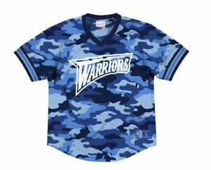 Mitchell And Ness NBA Camo Mesh V-Neck Golden State Warriors New