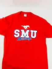NCAA Mens SMU Sz Large Mustangs Classic Large White Blue Logo Red T Shirt
