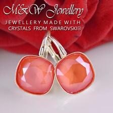 925 SILVER EARRINGS CRYSTALS FROM SWAROVSKI® 10MM FANCY STONE - Light Coral