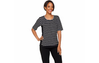 Denim & Co. Active Striped Scoop Neck Elbow Sleeve Top Black L A278981 QVC J