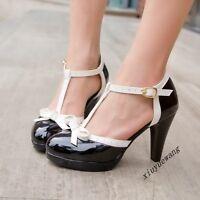 Ladies Fashion Party Dance Ankle Strap High Block Heel Bowtie Shoes Sandals Size