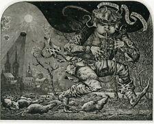 Rat Catcher From Hameln, Music, Ex libris Etching by Konstantin Kalinovich