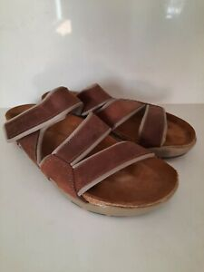 NAOT Brown Leather Strap Slip On Sport Sandals Slippers Shoes Slide Men's 13 /46