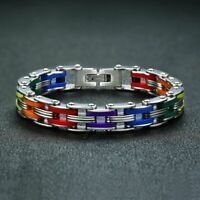 "New LGBT Gay Pride Rainbow Color Stainless Steel and Silicone Bracelet 8"" - 9"""