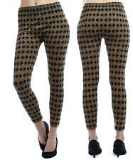 Women Black Gold Jacquard Seamless Plus Size Legging Fit Sizes 14 16 18 NEW