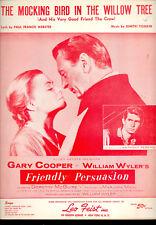 "FRIENDLY PERSUASION SheetMusic ""Mocking Bird In Willow Tree"" Gary Cooper Tiomkin"