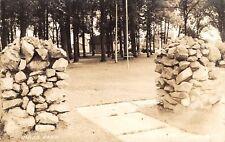 Grundy Center Iowa~Union Park~Stacked Rock Pillars~Playground~1943 RPPC