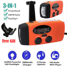 Emergency Radio Solar Hand Crank AM/FM/NOAA LED Flashlight Phone Charger Orange