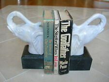 "Maitland Smith Pr Golden White Marble Elephant Head ""Trunk Up"" Bookends"