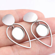 Stainless Steel 10mm Blank Cabochon Earring Base Settings Post Earring Connector