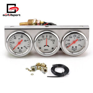 2'' 52mm Chrome Car Triple Gauge Kit Oil Pressure Water Temp Amp meter White