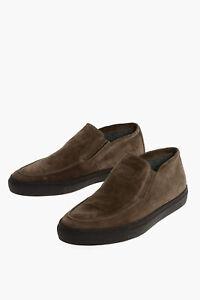 CORNELIANI men Sneakers Shoes Slip-On Suede Leather Rubber Sole Beige 9 (Shoe...