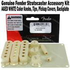 Genuine Fender Stratocaster Accessory Kit Aged White Knobs Tips Pickup Covers