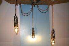 Ceiling Lights. Modern 3 Light Brass Hanging Light With 1.5 metres Brown Flex
