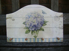 WOODEN SHABBY BLUE FLOWER WALL HOOKS PLAQUE