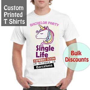 Personalised T-shirt Custom Photo Your Image Printed Stag Hen T-shirt Party Bulk