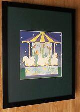 """Enfants art de mur, Cathi merlan, 20"""" x16"""" frame, carousel IMPRIME, Nurserie Art"""