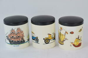 Set of 3 Vintage Ship Car Pattern Canister Jar Tea Coffee Sugar Pot Containers