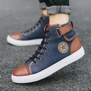 2021 Mens Casual High Top canvas Shoes Lace Up Skateboard Sneakers boots