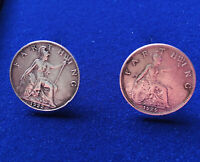 Coin Farthing Cufflinks made Out Of Polished Coin handmade