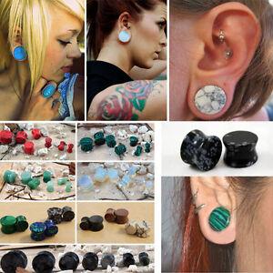 Pair Organic Semi Precious Stone Saddle Ear Gauges Plugs Natural Polished Flared