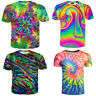 New Womens/Mens Tie-dye Funny Colorful 3D Print Casual T-Shirts Tee Short Sleeve