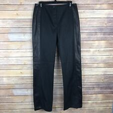 DKNY Womens Jeans Cotton Stretch Straight Leg 100% Leather Trim Black Size 8