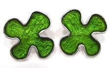 SoHo® Ohrstecker Blume silber Kunstharz grün SoHo retro resin Harz waldmeister