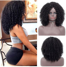 New Style Medium Long Afro Kinky Curly Wig Synthetic Womens Wigs Black Wigs+Cap