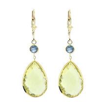 Pendientes de joyería con gemas amarillos de oro amarillo topacio