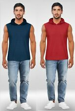 MENS SLEEVELESS HOODIE HOODED TOP STRETCH LIGHTWEIGHT POCKETS UK FAST NEW