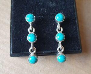 Genuine Turquoise Sterling Silver Drop Dangle Gemstone Earrings