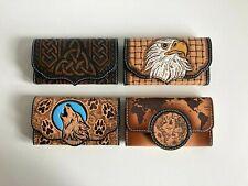 Blague à tabac, pochette en cuir repoussé divers motifs