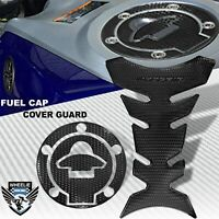 PERFORATED BLACK PRO GRIP FUEL TANK PAD+GAS CAP COVER GUARD 14-20 YAMAHA YZF R3