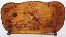 Vintage 1920-30 Over the Fence for a Score Babe Ruth Pyrography Wooden Tie Rack