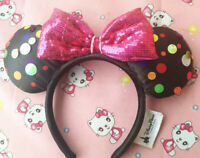 New Disney Parks Rock The Dots Mickey Minnie Mouse Bow Sequins Headband Ears