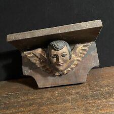 Vtg Antique Shelf Angel Cherub Head Wings Wood Hand Carved Sculpture Gold Gilded